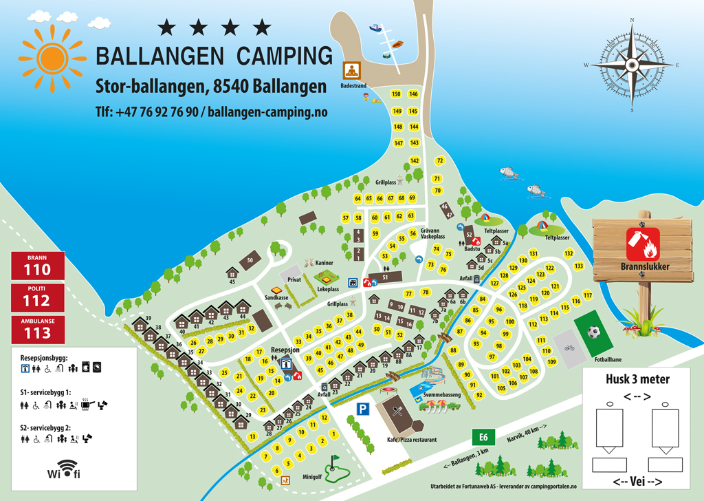 Map, Pluscamp Ballangen Camping